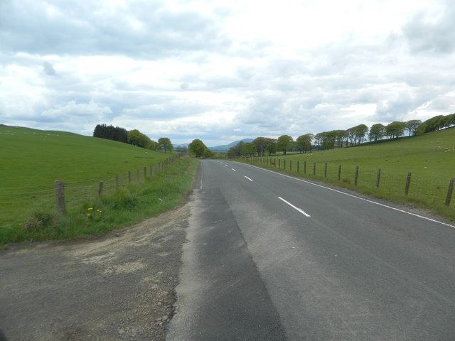 The A72 at Skirling Craigs Farm entrance