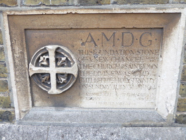 St John the Divine, Richmond: foundation stone