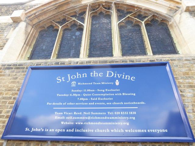St John the Divine, Richmond: service board