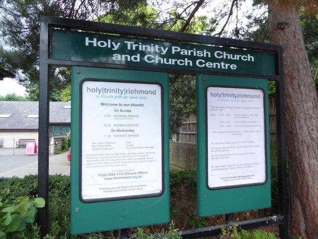 Holy Trinity, Richmond: noticeboard