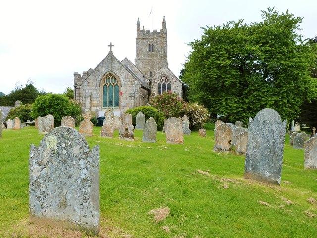 Graveyard of Holy Trinity church, Drewsteignton, Devon