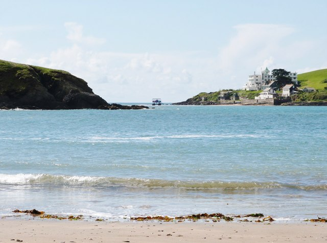From the beach at Challaborough Bay looking to Burgh Island