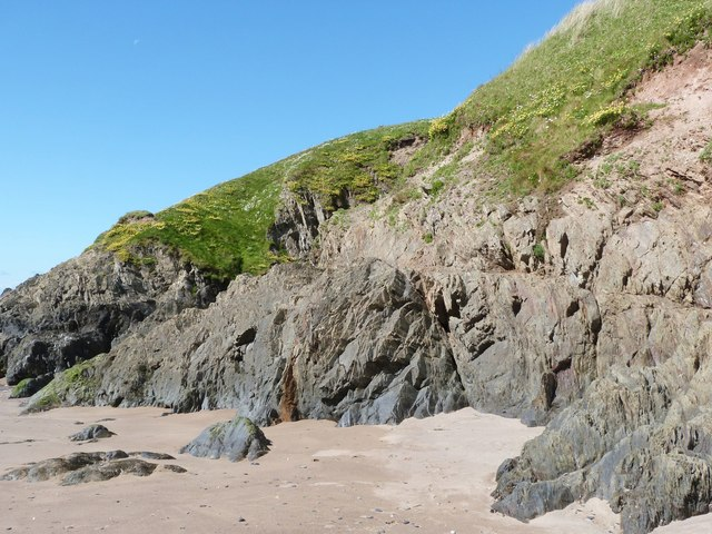 Rock formation at Challaborough Bay, Devon