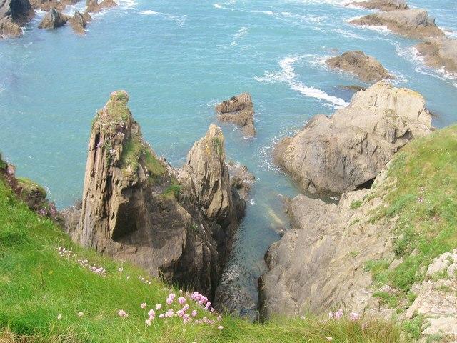 The rocky western shore of Burgh Island, Bigbury-on-Sea, Devon