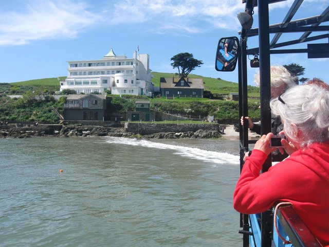 "Arriving at Burgh Island on the ""Sea Tractor"""