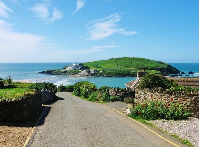 View of Burgh Island from Marine Drive, Bigbury-on-Sea, Devon
