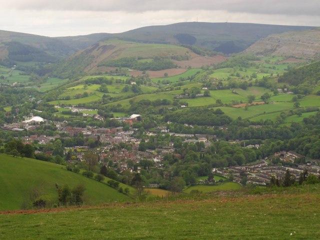 View down into Llangollen