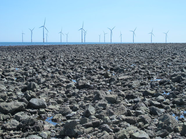 Exposed rocks east of the South Gare Breakwater at low tide (2a)