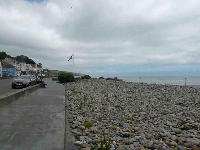 Amroth beach blue flag is flying