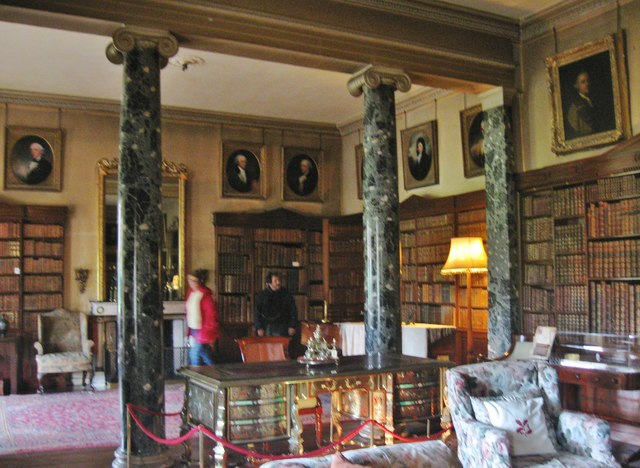 Marble columns with Doric capitals in the library of Saltram House