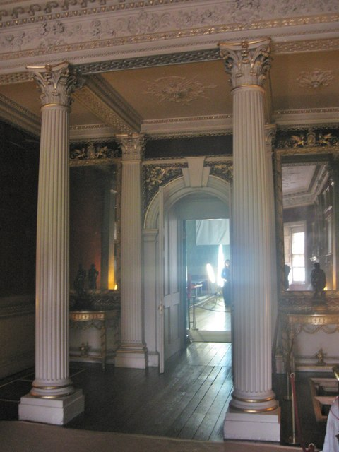 Fluted columns with Corinthian capitals in the Grand Hall at Saltram House