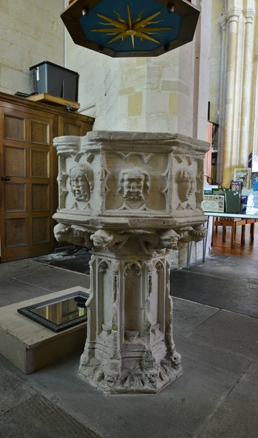 Northleach, St. Peter and St. Pauls' Church: The c14th font with octagonal bowl