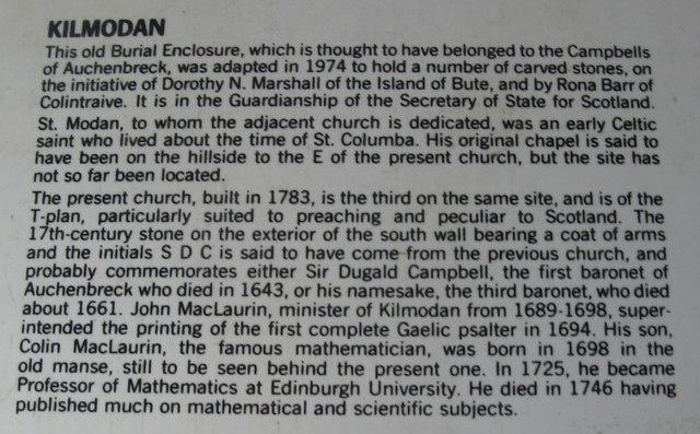 Information about Kilmodan and the Lapidarium