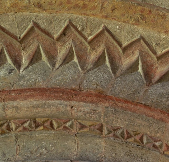 Kempley, St. Mary's Church: The Norman chancel arch (detail)