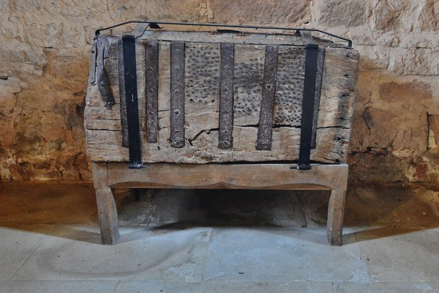 Kempley, St. Mary's Church: Early c16th parish chest made from one piece of oak