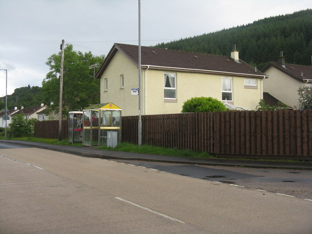 Bus stop and telephone at Sandhaven