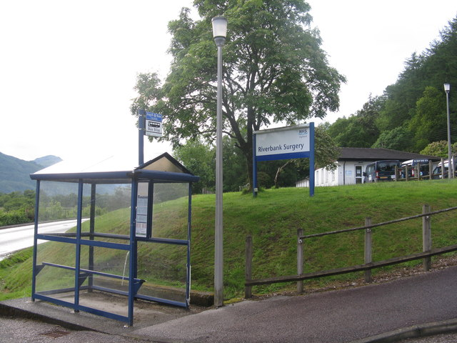 Bus stop at the Riverbank Surgery