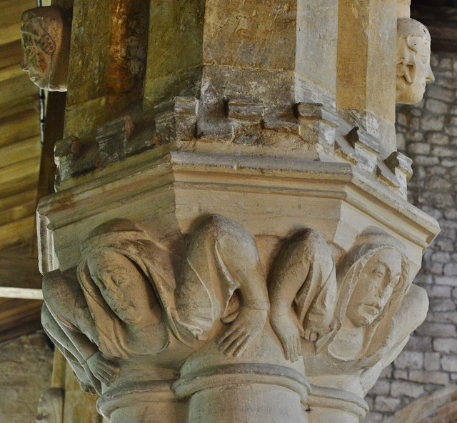 Hanwell, St. Peter's Church: The  nave capitals with hands at the side  2