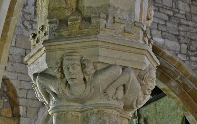 """Hanwell, St. Peter's Church: The """"linked arm"""" nave capitals 2"""