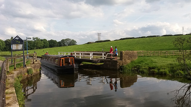 Canal boat passing through Owl Bridge