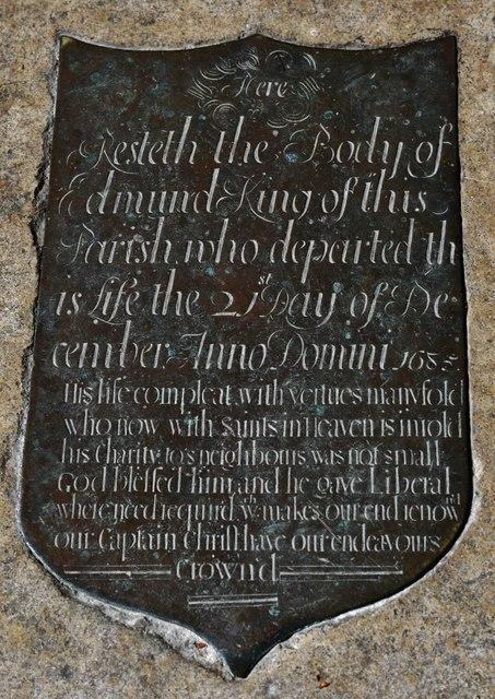 Quenington, St. Swithuns Church: Edmund King memorial brass