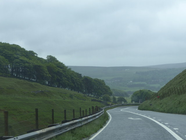 Bend in the A54 approaching Burbage