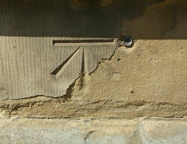 Bench mark and bolt, St Mary's Church, Nottingham