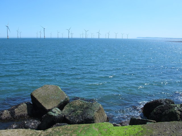 View from South Gare towards the Redcar Offshore Wind Farm