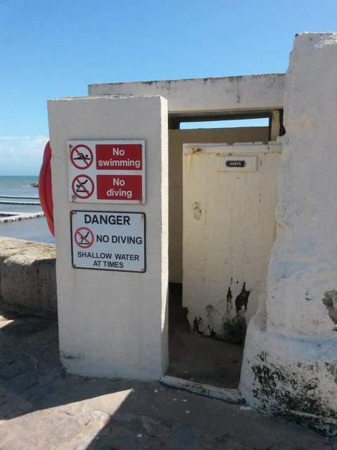 Lyme Regis: tiny toilet on Victoria Pier