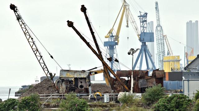 Old steam cranes, Titanic Quarter, Belfast (June 2017)
