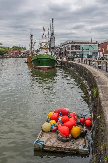 Buoys on a raft