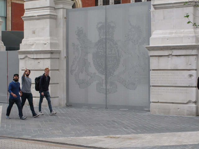 Royal coat of arms on gate, V & A museum