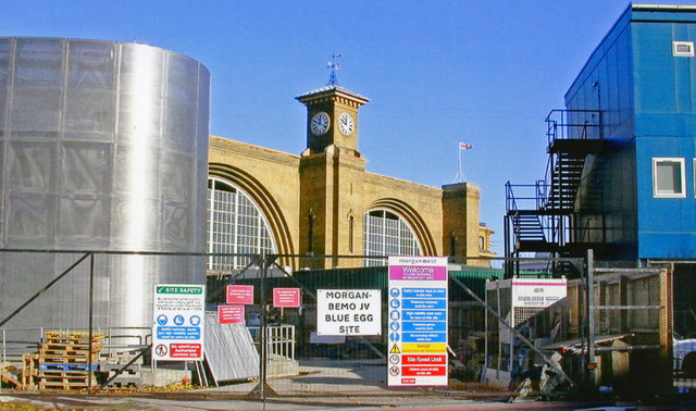 King's Cross station, glimpsed from Pancras Road during works on transformation of St Pancras, 2007