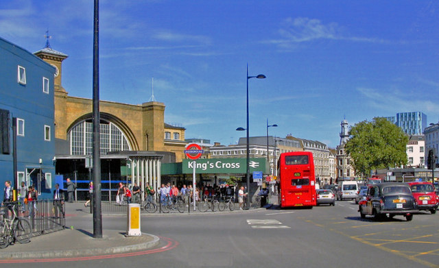 King's Cross station by entrance to Underground station, 2009