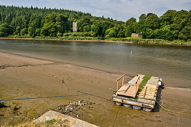 Tower folly at Strancally Demesne - from Dromore Quay (1)