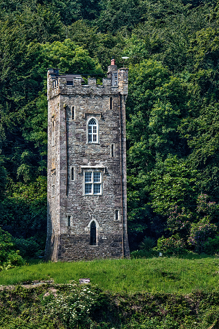 Tower folly at Strancally Demesne - from Dromore Quay (2)