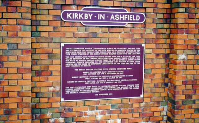 Kirkby-in-Ashfield: plaque at new station on Robin Hood Line, 2000