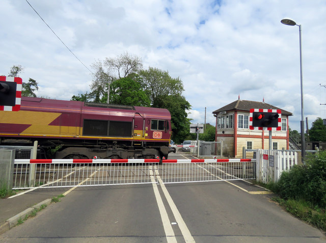 DB Class 66 at Ashwell Level Crossing