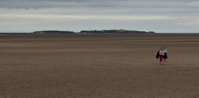 Looking across the sand towards Hilbre Island
