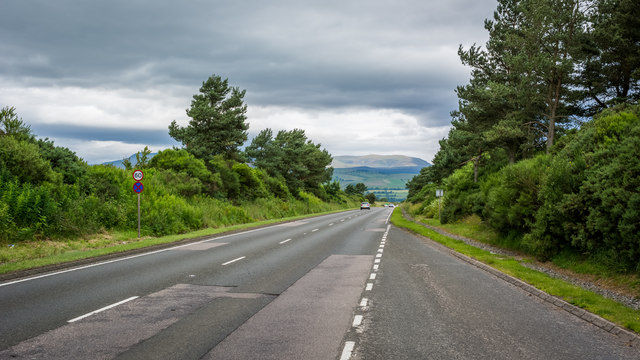 Looking north along the A9 from lay by 196