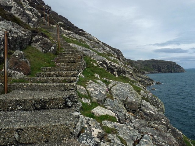 Steps to Milaid Point Lighthouse, Gob na Miolaid, Isle of Lewis