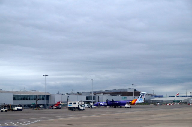 Flybe plane on the apron at Edinburgh Airport