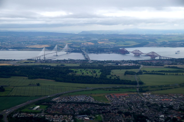Three bridges across the Forth, from the air