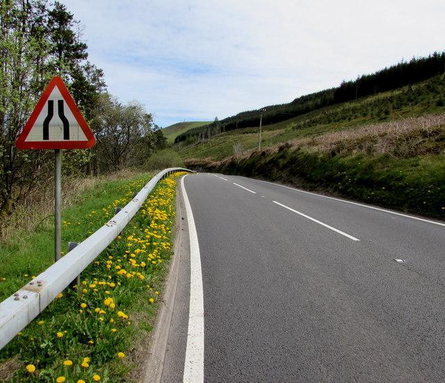 Warning sign - road narrows near Sugar Loaf