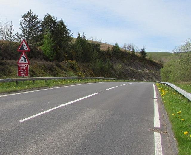 Warning signs alongside the A483 near Sugar Loaf