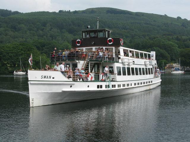 Steamer MV Swan arriving at Lakeside Pier, Windermere