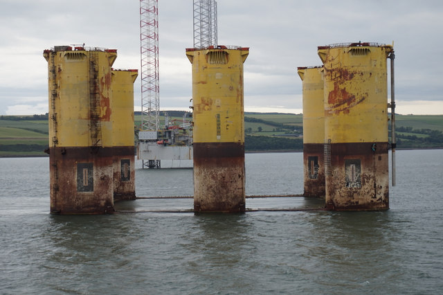 Former oil rig in Cromarty Firth