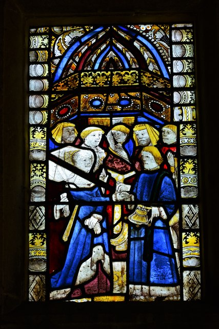 Buckland, St. Michael's Church: Medieval stained glass window 3