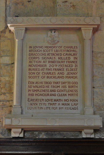 Buckland, St. Michael's Church: Charles Brough Scott memorial