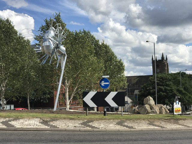 Roundabout art in Newcastle-under-Lyme